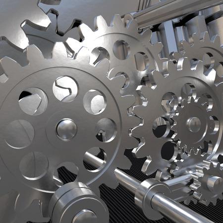 metal gears: The mechanism of metal gears. Background Stock Photo