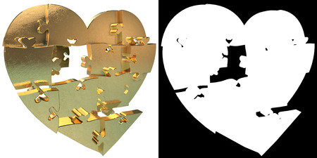 heart puzzle: Golden Heart puzzle. Alpha channel. 3D illustration