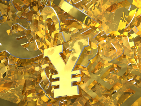 heap: Gold currency symbols on the heap. 3D illustration