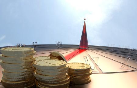 Time is money. Sundial. 3D illustration