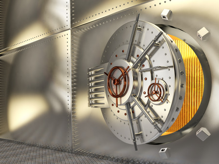 The metal door of the safe, the gold in the safe. 3D illustration Stock Photo
