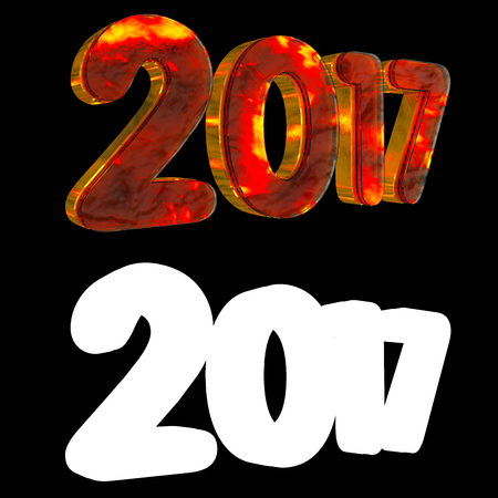 next year: Gold number two thousand and seventeen on a black background. With alpha channel. 3D illustration Stock Photo