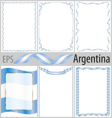 Set of 6 frames and borders with coloring Argentina flag