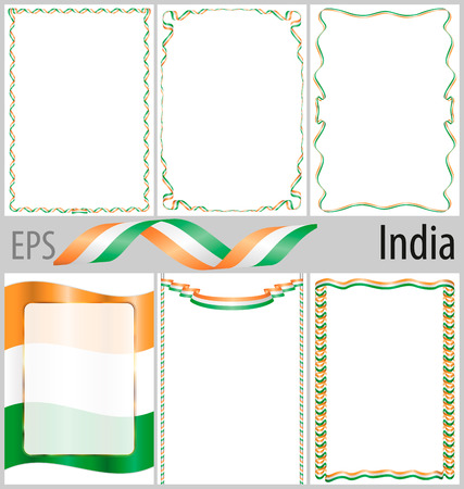 authenticity: Set of 6 frames and borders with coloring India flag