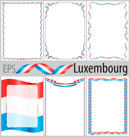 authenticity: Set of 6 frames and borders with coloring Luxembourg flag