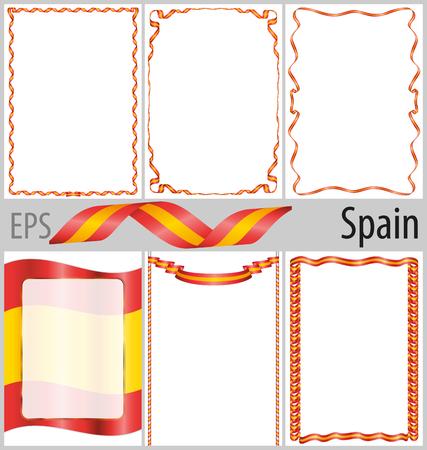 Conjunto De 6 Marcos Y Bordes Con El Colorante Bandera De España ...