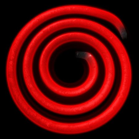 coil: Electric spiral heated to a red. Heating coil element. 3D illustration