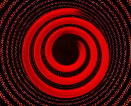 stove top: Electric spiral heated to a red. Heating coil element. 3D illustration