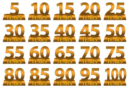 gold numbers: Set of gold numbers to mark the anniversary. Vector
