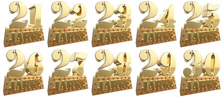 twenty six: Set of golden digits on a gold ingot for the anniversary. Translation from German - Years. 3d illustration