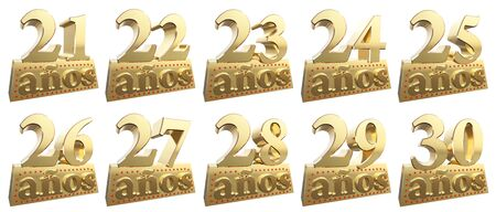 twenty six: Set of golden digits on a gold ingot for the anniversary. Translation from Spanish - Years. 3d illustration Stock Photo
