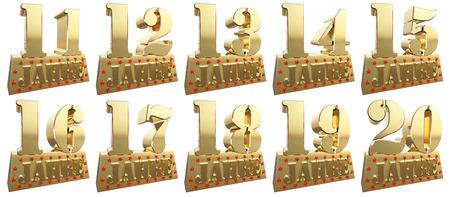 twenty thirteen: Set of golden digits on a gold ingot for the anniversary. Translation from German - Years. 3d illustration