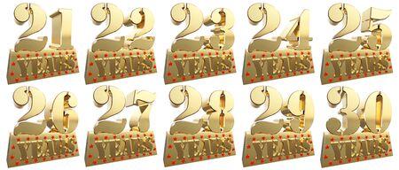 twenty six: Set of golden digits on a gold ingot for the anniversary. 3d illustration