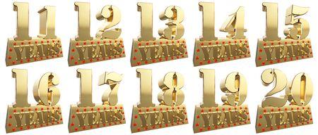 twenty thirteen: Set of golden digits on a gold ingot for the anniversary. 3d illustration