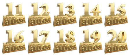 Set of golden digits on a gold ingot for the anniversary. Translation from Spanish - Years. 3d illustration Stock Photo
