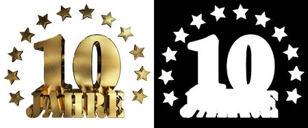 Golden digit ten and the word of the year, decorated with stars. Translated from the German. 3D illustration