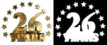 twenty six: Golden digit twenty six and the word of the year, decorated with stars.  3D illustration Stock Photo