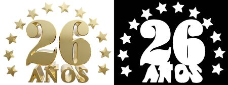 twenty six: Golden digit twenty six and the word of the year, decorated with stars. Translated from the Spanish. 3D illustration Stock Photo