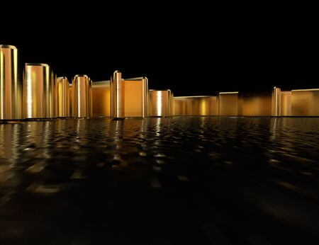 Background with golden objects, reflected from the dark surface. 3D Illustration Stock Photo