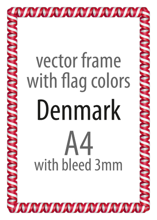 authenticity: Frame and border of ribbon with the colors of the Denmark flag