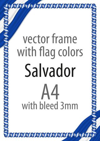 authenticity: Frame and border of ribbon with the colors of the Salvador flag