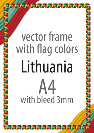 authenticity: Frame and border of ribbon with the colors of the Lithuania flag Illustration