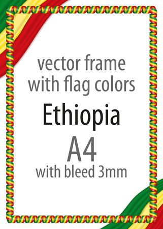 authenticity: Frame and border of ribbon with the colors of the Ethiopia flag