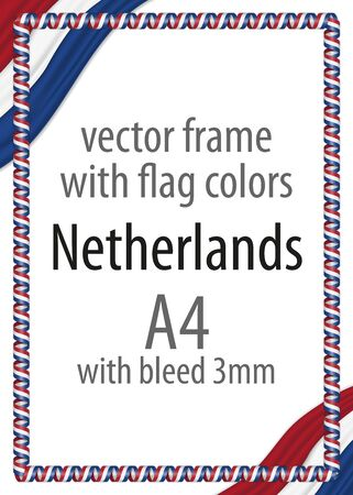 authenticity: Frame and border of ribbon with the colors of the Netherlands flag Illustration
