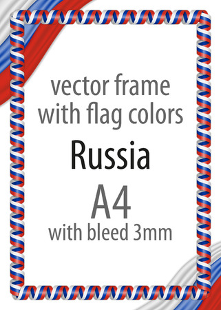 authenticity: Frame and border of ribbon with the colors of the Russia flag Illustration