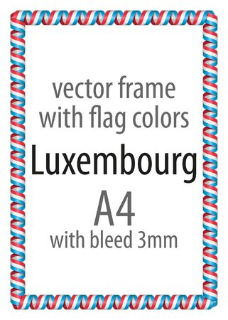 authenticity: Frame and border of ribbon with the colors of the Luxembourg flag