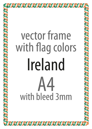 authenticity: Frame and border of ribbon with the colors of the Ireland flag
