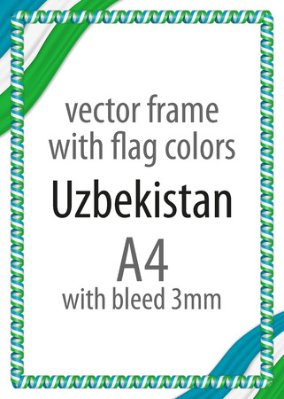 authenticity: Frame and border of ribbon with the colors of the Uzbekistan flag Illustration
