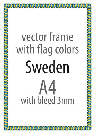 authenticity: Frame and border of ribbon with the colors of the Sweden flag