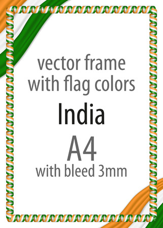 authenticity: Frame and border of ribbon with the colors of the India flag