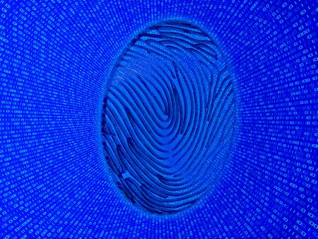 zeros: Cybersecurity. Fingerprint on a background of zeros and ones.