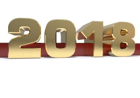 next year: Gold number 2018 (two thousand and seventeen) on a  red and white background. 3D illustration Stock Photo