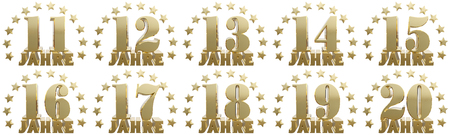 Set of gold numbers and lettering of the year, decorated with stars. Translated from the German- years. 3D illustration