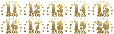 Set of gold numbers and lettering of the year, decorated with stars. Translated from the Spanish - years. 3D illustration Stock Photo