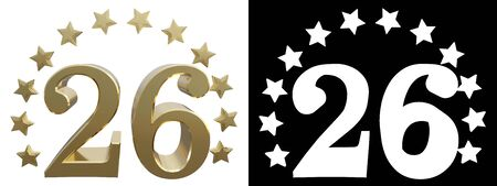 Gold number twenty six, decorated with a circle of stars. 3D illustration