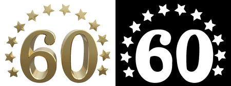 Gold number sixty, decorated with a circle of stars. 3D illustration