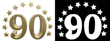 Gold number ninety, decorated with a circle of stars. 3D illustration
