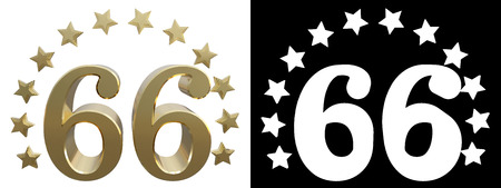 six years age: Gold number sixty six, decorated with a circle of stars. 3D illustration Foto de archivo