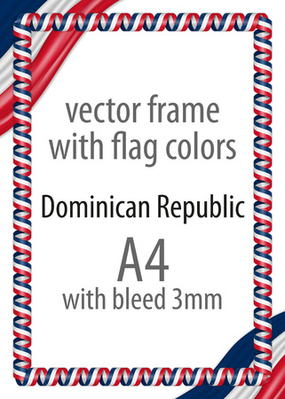 Frame and border of ribbon with the colors of the Dominican Republic flag Vetores