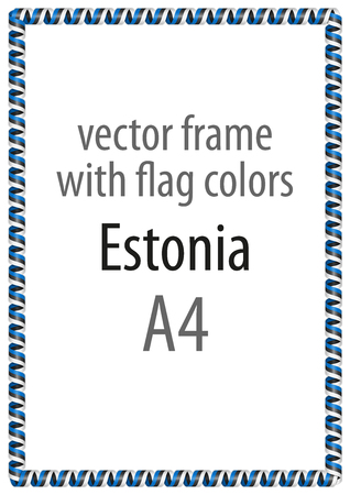 Frame and border of ribbon with the colors of the Estonia flag Illustration