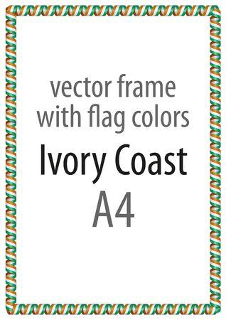 Cadre et bordure de ruban aux couleurs du drapeau de la Côte d'Ivoire Banque d'images - 74250268