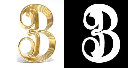 ドロップ シャドウとのアルファ チャネルと白い背景のゴールデン番号は 3。3 D イラストレーション 写真素材