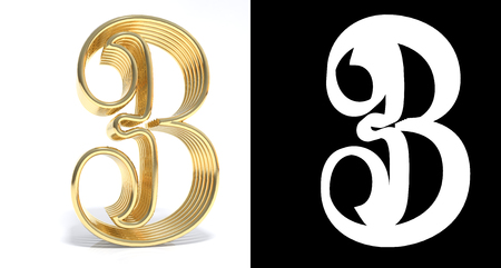 Golden number three on white background with drop shadow and alpha channel. 3D illustration Banco de Imagens