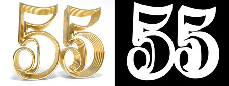 Golden number fifty five on white background with drop shadow and alpha channel. 3D illustration