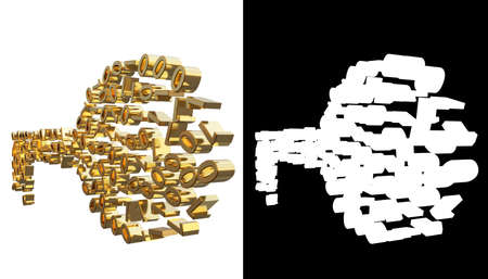 bytes: Gold numbers one and zero in the shape of a key. With alpha channel. 3D illustration