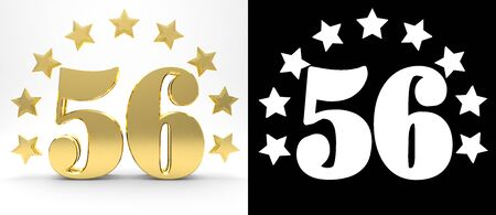 six years age: Golden number fifty six on white background with drop shadow and alpha channel , decorated with a circle of stars. 3D illustration